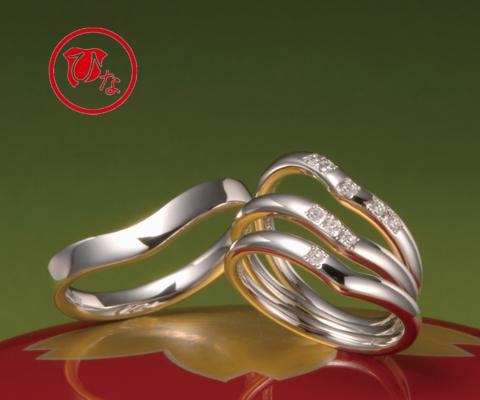 十二単(V字ライン) 結婚指輪 【ひな】