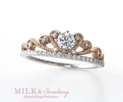 サラ 婚約指輪 【ミルク&ストロベリー】